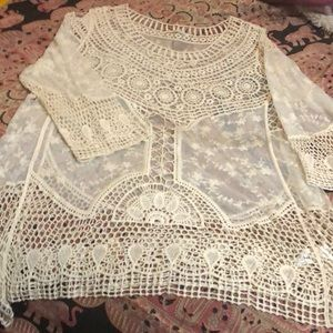 Maurices Macrame Lace & Tulle Tunic